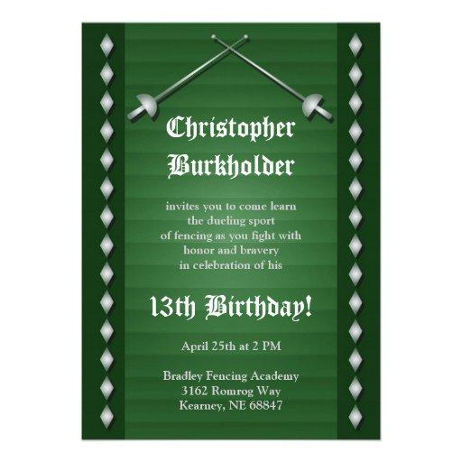 Grüne fechtende Geburtstags-Party Einladung