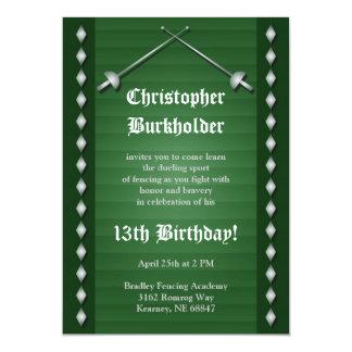 Grüne fechtende Geburtstags-Party Einladung 12,7 X 17,8 Cm Einladungskarte
