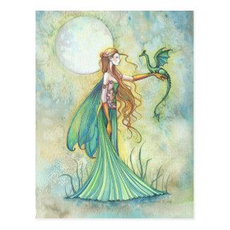 Grüne Fee-und Drache-Fantasie-Kunst Postkarte