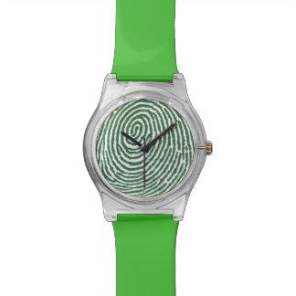 Grüne Fingerabdruck-Muster - RetroFlat Uhren