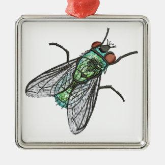 grüne Fliege - Nachahmung der Stickerei Silbernes Ornament
