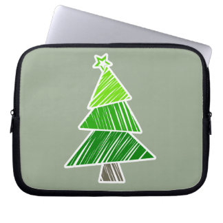 Grüne flüchtige Weihnachtsbaum-Hülse Laptopschutzhülle