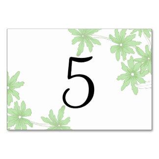 Grüne Gänseblümchen, die Tischnummern Wedding sind