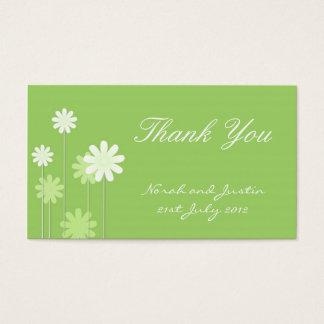 Grüne Gänseblümchen-Hochzeit danken Ihnen zu Visitenkarte