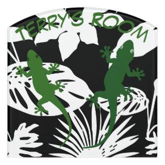 Grüne Geckos u. tropisches Blätter-Raum-Zeichen #1 Türschild