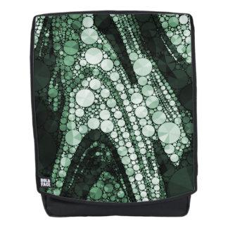 Grüne geometrische abstrakte Dreiecke und Kreise Rucksack