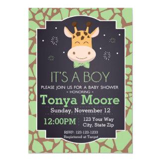 Grüne Giraffen-Druck-Babyparty-Einladung 12,7 X 17,8 Cm Einladungskarte