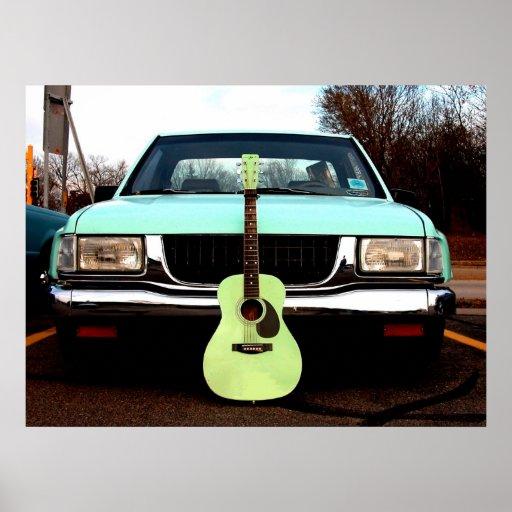 Grüne Gitarre mit Auto Plakatdruck