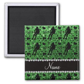 Grüne Glitterrolle Derby des individuellen Namens Quadratischer Magnet