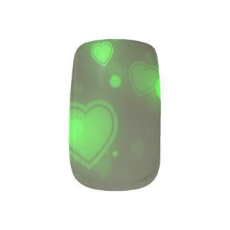 Grüne Glitzer-Blasen-Neonherzen Minx Nagelkunst