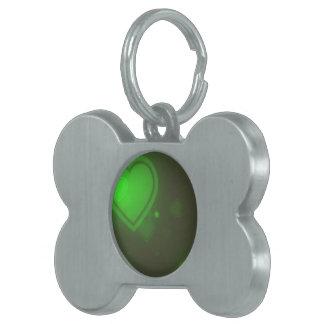 Grüne Glitzer-Blasen-Neonherzen Tiermarke