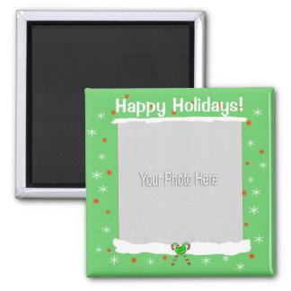 Grüne glückliche Feiertags-Schneeflocken Quadratischer Magnet