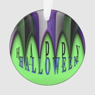 Grüne glückliche gestreifte Reißzähne Halloweens Ornament