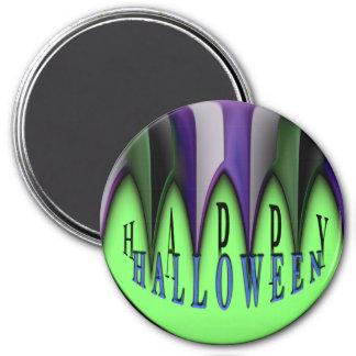 Grüne glückliche gestreifte Reißzähne Halloweens Runder Magnet 7,6 Cm