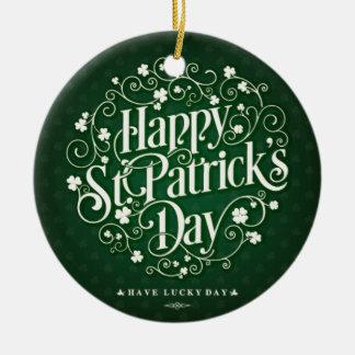 Grüne glückliche Heiliger Rundes Keramik Ornament