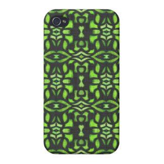 Grüne graue schwarze Stammes- Tätowierungs-flippig iPhone 4/4S Hüllen