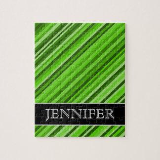 Grüne Grenzen/Streifen-Muster + Name-Puzzlespiel Puzzle