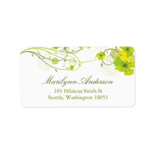 Grüne Hibiskus-Wirbelchic-Hochzeits-mit Adressetikett