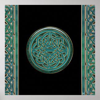 Grüne Jade und Marmor mit Goldkeltischem Knoten-Pl Poster