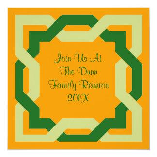 Grüne keltische Knoten-Familien-Wiedersehen-Party Quadratische 13,3 Cm Einladungskarte