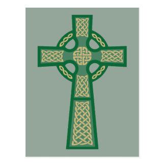 Grüne keltisches Kreuz-Postkarten Postkarte