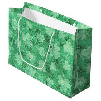 Grüne Kleeblätter auf Grün Große Geschenktüte