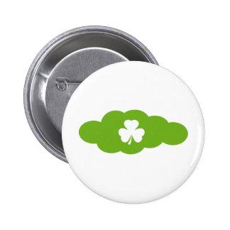 grüne Kleeblattwolke Runder Button 5,1 Cm