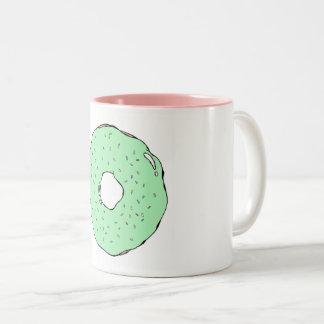 Grüne Krapfen-Tasse Zweifarbige Tasse