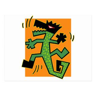 Grüne Krokodil-Illustration Postkarte