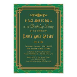 Grüne Kunst-Deko-Geburtstags-Party Einladungen
