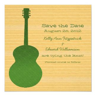 Grüne Land-Gitarre laden Save the Date ein Quadratische 13,3 Cm Einladungskarte