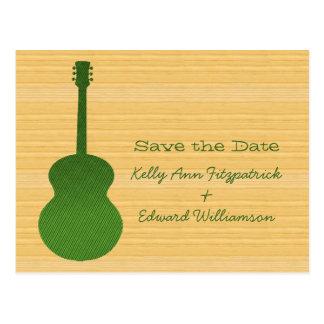 Grüne Land-Gitarren-Save the Date Postkarte