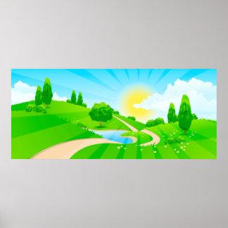 Grüne Landschaft mit Sun und Wolken Poster