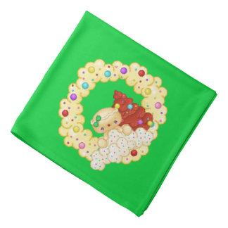 Grüne Lebkuchen-Mädchen-Kranz-Pixel-Kunst Kopftuch