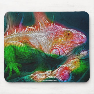 Grüne Leguan-Fantasie-Kunst-wild lebende Tiere Mousepad