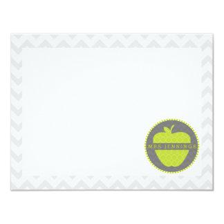 Grüne Lehrer-Post-It Apples Quatrefoil 10,8 X 14 Cm Einladungskarte