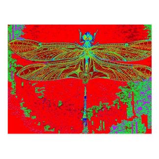 Grüne Libelle - rote Geschenke durch Sharles Postkarte