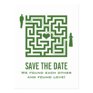Grüne Liebe-Labyrinth-Save the Date Postkarte