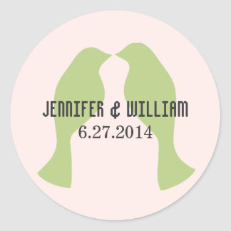 Grüne Liebe-Vögel, die Umschlag Aufkleber Wedding