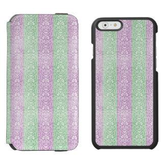 Grüne lila Damast-Band-Süßigkeit zeichnet Kawaii Incipio Watson™ iPhone 6 Geldbörsen Hülle