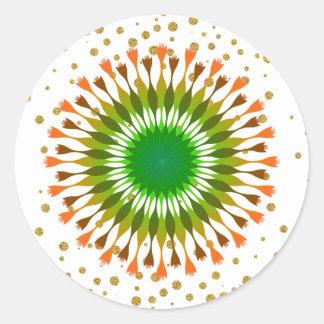 Grüne Lotos-Blumen-Goldconfetti-Hochzeit Runder Aufkleber