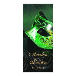 Grüne Maskerade-Hochzeits-Programm-Einladung 10,2 X 23,5 Cm Einladungskarte