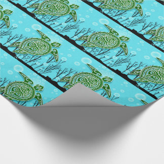 Grüne Meeresschildkröten, die unter Wasser Geschenkpapier