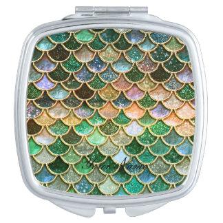 Grüne Metallfolien-Glitter-Goldmeerjungfrau-Skalen Taschenspiegel