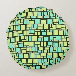 Grüne Mosaik-Fliesen Rundes Kissen