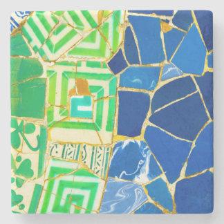 Grüne Mosaik Parc Guell Fliesen in Barcelona Steinuntersetzer