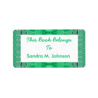 grüne Muster-Buchzeichen Adressaufkleber