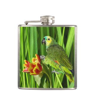Grüne Natur mit Papageien Flachmann