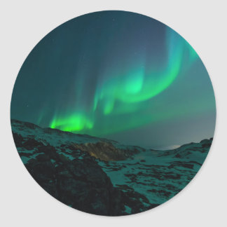 Grüne Nordlichter Runder Aufkleber