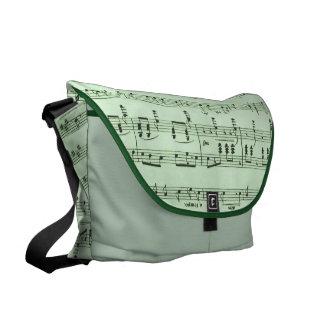 Grüne Notenen-Bote-Tasche Kuriertasche